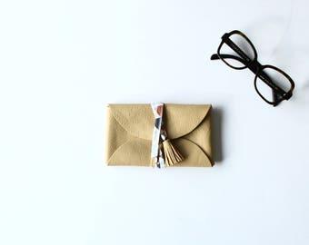 -Camel leather sunglasses case