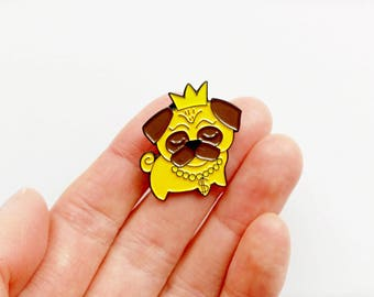Pug lapel pin, soft enamel pin, dog pins, pug badge