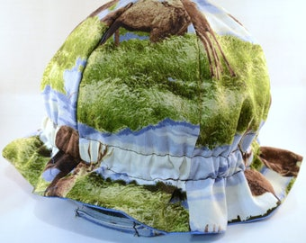"Cotton ""Grow-with-Me"" Sunhat - Forest Deer - Adjustable Size - Flat Brim - Velcro Chin Strap - 0-3+ Years - Stay-On Hat"
