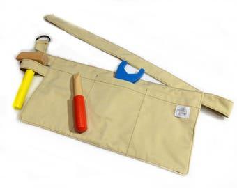 Pretend Play Apron - Tool Belt - Carpenter - Preschool, Toddler - Costume, Dress-Up - Denim, Khaki Brown