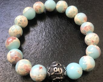 Jasper beads and Tibetan prayer bead stainless steel