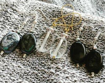 Oval Czech Glass Dangle Earrings