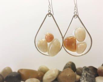 Earrings, Three Stone Earrings, Pebble Art, Pebble Earrings, Resin Earrings, Resin Jewelry, Statement Earrings