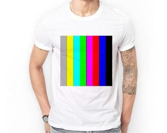 Colour Bars Art T-Shirt | Men's T Shirt Tee Clothing | Gifts For Media Television TV Creative Graphic Designer Media Student | Pantone