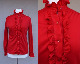 Vintage 70s Red Blouse/ Ruffled Blouse/ Polyester/ Red/ Mardi Modes/ Long Sleeves/ Small