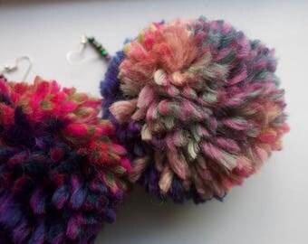 Large handmade multicoloured Pompom earrings