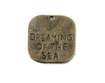 10 Antiqued Bronze Dreaming of the Sea Charms 19mm