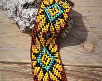 Brazilian glass-Sun yellow and Brown beaded bracelet.