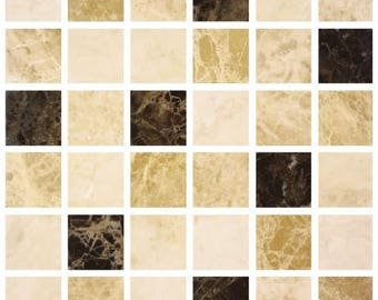 Pack of 10 cream coffee marble effect mosaic tile stickers transfers, with added gloss affect, just peel and stick, bathroom kitchen