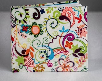 Small Blank Journal, Hardcover, White Cotton Paper - Paisley