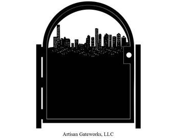 Decorative Skyline Steel Gate - Steel Panel Art - Houston Skyline - Modern Urban Art - City Gate - Decorative Wall Panel