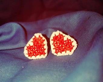 Cross Stitch Heart Earrings - Embroidered Earrings - Hypoallergenic