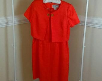 Jessica Howard dress suit orange tweed linen 12P
