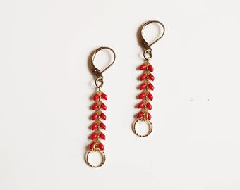 Red mesh and Golden spikes and round sequins, geometric earrings clusters earrings trends