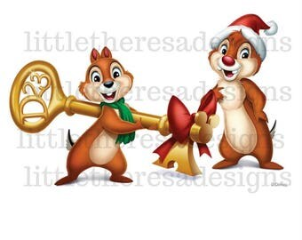 Chip and Dale Christmas Key Transfer,Digital Transfer,Digital Iron Ons,Diy