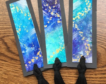 Set of 3 Watercolor Space Theme Bookmarks
