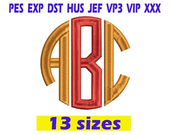 Circle Monogram Embroidery Font / Circle Monogram embroidery design/ INSTANT download