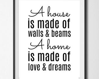 A Home is Made of Love and Dreams, Instant Download, Digital Printable, Wall Art
