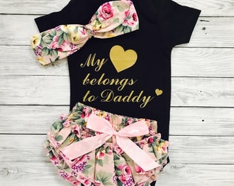 Baby Girl Outfits, Baby Girl Bodysuit, Daddy's Girl, Baby Clothes Daddy, Baby Shower Gift, My Heart Belong To Daddy, Newborn Baby Girl
