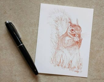 Red Squirrel American Woodland Greeting Card