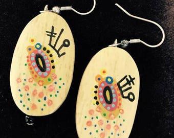 Wood Hand Painted Drop - Handmade