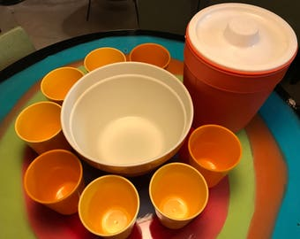 Various Orange and Yellow Cups, Orange Bowl and Ice Bucket