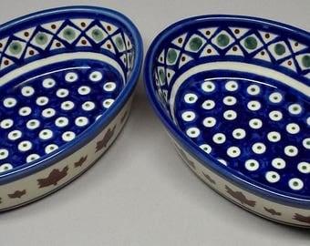 Boleslawiec vintage serving bowls handmade Poland
