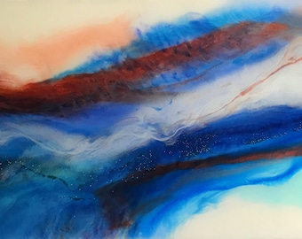 Fire and Ice - Landscape Resin Art