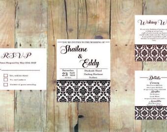 Black and White Pattern Wedding Invitation Kit