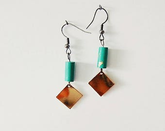Jade green and gold earrings
