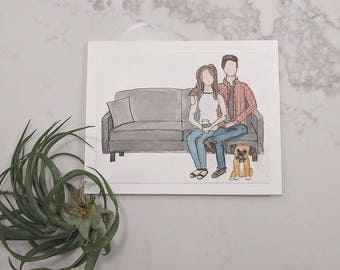 Family portrait   Custom illustration   family drawing   couple drawing  gift   birthday   anniversary   Christmas   house warming gift
