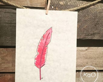 Acrylic painting on parchment paper - pink feather illustration