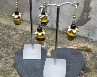 Bee Inspired Paper Bead Earrings