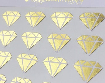 60 Foil Diamond Stickers | Planner | Gold | Rose | Pink | Blue | Purple