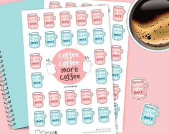 Coffee Coffee More Coffee Sticker | Cute Sticker, Coffee, Planner Sticker, Fun Stickers, Stationery