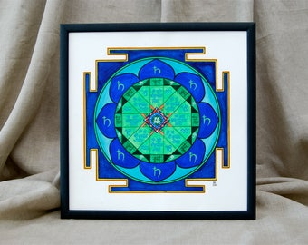 Hand painted and framed Saturn yantra, Shani yantra, Vedic astrology, Jyotish, Mandala, wall art, Vastu, Indian, Meditation, Sacral geometry