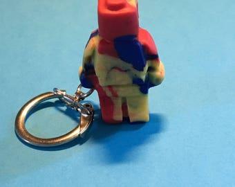 Multi coloured Lego man keyring