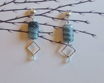 Blue Denim Drop Earrings