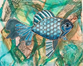 FISH Giclee with hand stitching, 8 1/2 x 10 1/2, FsFT1
