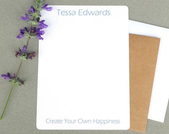 Women's Contemporary Personalized Stationary Set, Custom Stationery Set, Personalized Flat Note Cards, Create Your Own Happiness, Note Cards