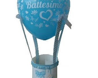 blue colored balloon, baptism centerpieces