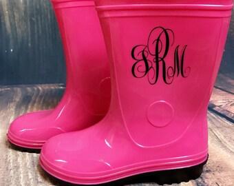 Kids Monogrammed Rain Boots