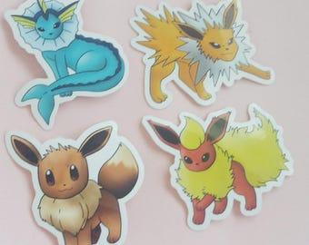 Pokemon Stickers - Eevee, Vaporeon, Jolteon, Flareon