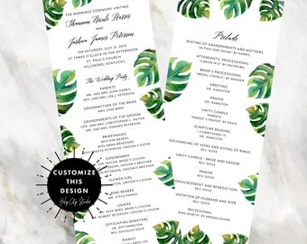 PALM LEAF PROGRAM / Palm Leaf Wedding Program / Panel Wedding Program / Custom Wedding Program / Tropical Wedding Program / Ceremony Program