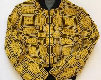Yellow Shipibo and Denim womans, reversible, cropped bomber jacket