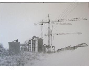 Urban landscapes handpainted Original graphite draw