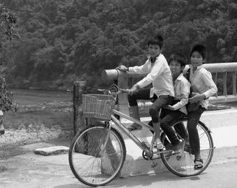 Vietnam, Khe Sanh, Travel, Bikes, Explore, Black and White, Vietnamese Kids
