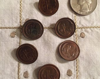 Australian Copper Coin Buttons