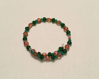 Orange and Green Memory Wire Bracelet