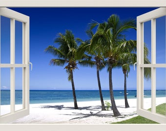 Tropical Beach Wall Decal, 3d Window Wall Decal, Sea Nature Wall Decal, Palm